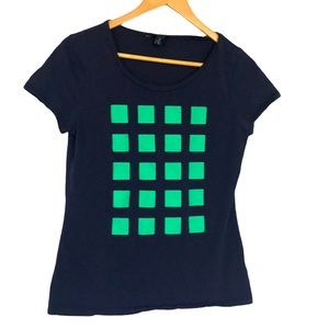 Tommy Hilfiger navy green square graphic T-shirt L